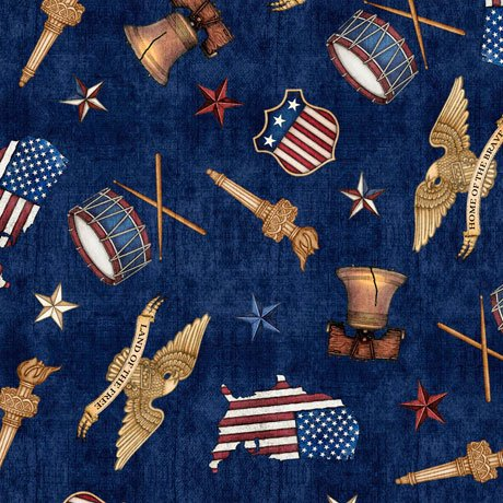 *EOB*American Pride 26977-N Icons Navy 0.61YD
