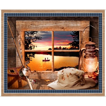 Sunset Lake 26983-X Fisherman's Window Panel