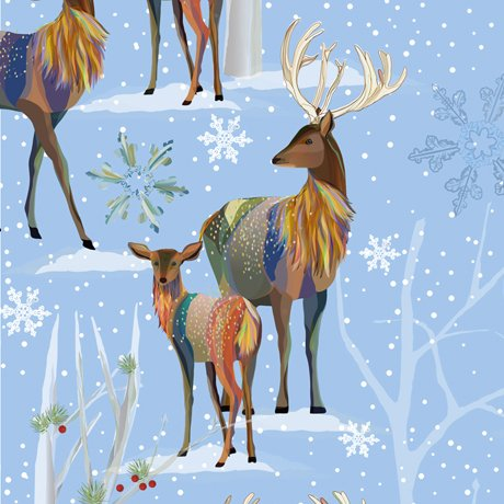 First Frost 27436-B Deer Scenic Blue