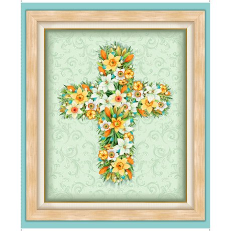 Easter Floral Cross 27578-X Panel