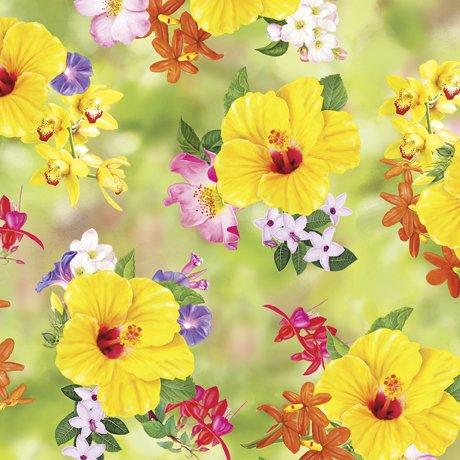 Hummingbird Garden 28154-H Floral Toss Green