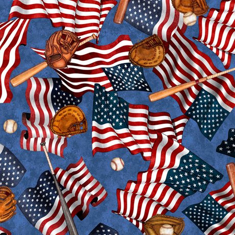 America's Pastime 28351-B Flags and Bats Blue