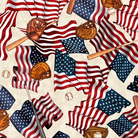 America's Pastime 28351-E Flags and Bats Cream