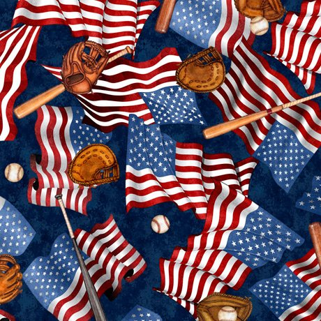 America's Pastime 28351-N Flags and Bats Navy