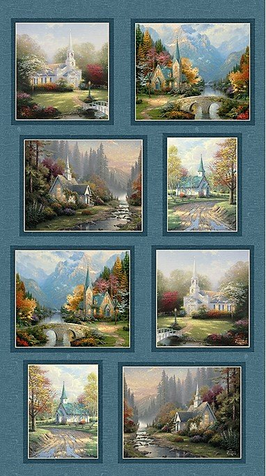 Thomas Kinkade Hometown Chapel 3034-55 Panel