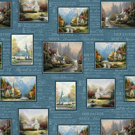 Thomas Kinkade Hometown Chapel 3038-55 Blue Patch