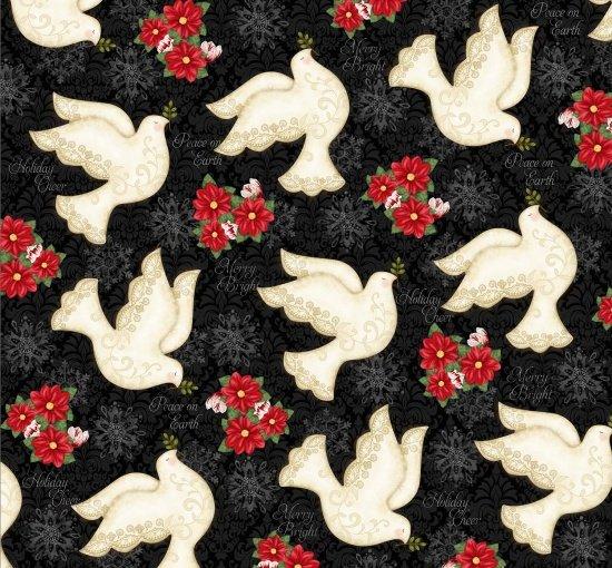 Winter Bliss Doves 3246-99 Black