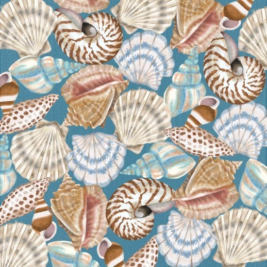 Seaside Dreams Shells on Blue 3430-76