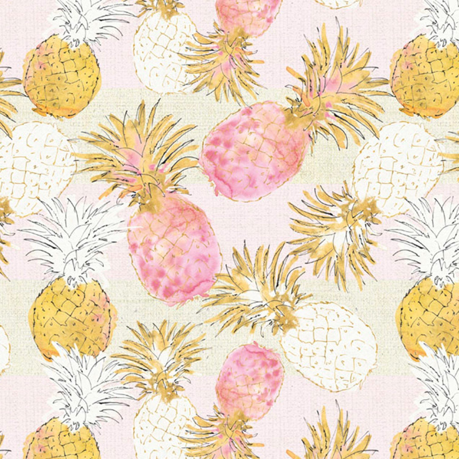 Pineapple Paradise 4172 Pink/Gold