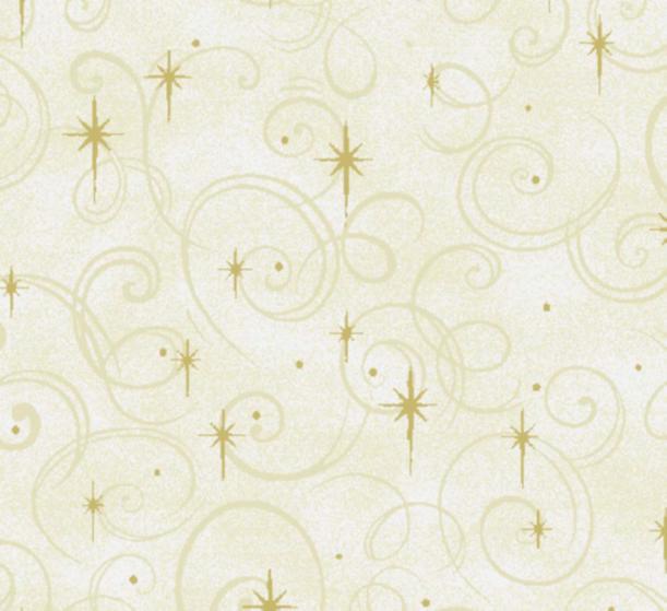 4189 Gold Stars & Swirls on cream