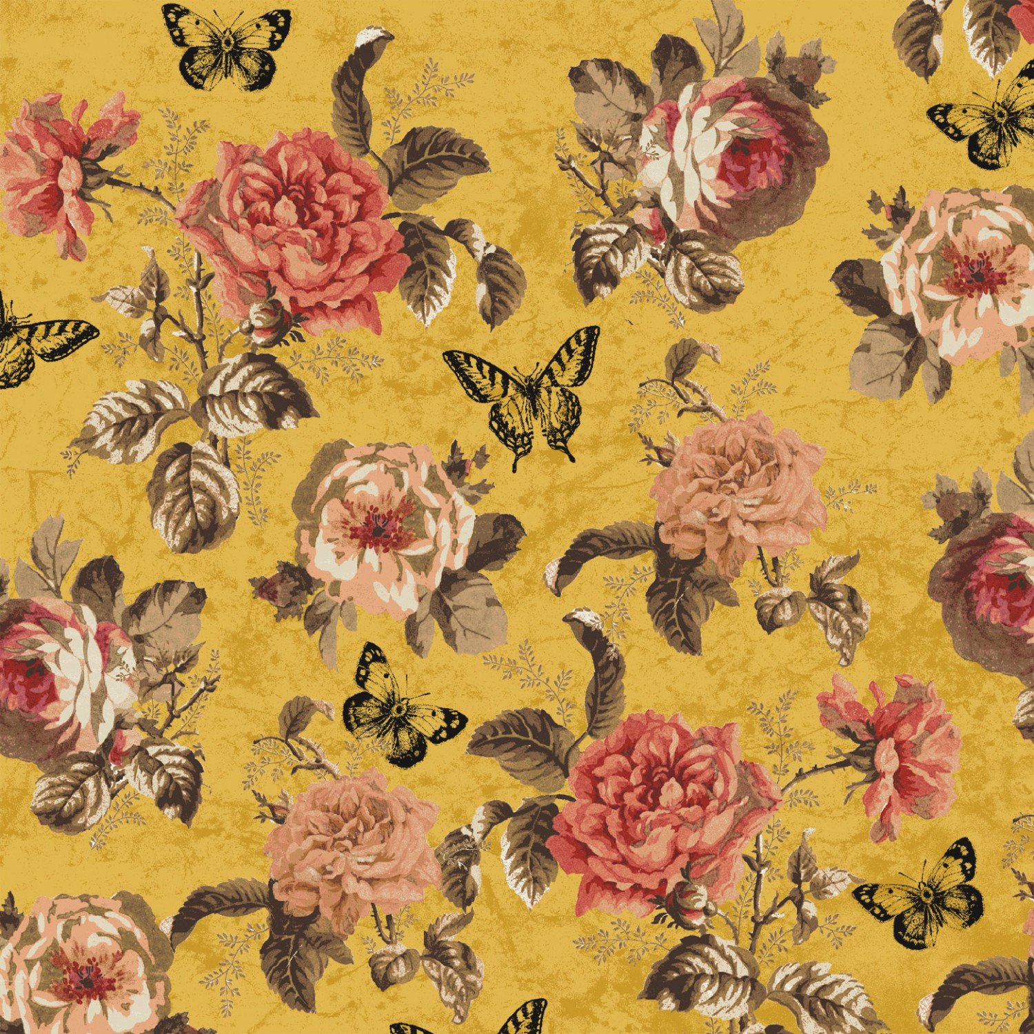 Afternoon Tea 42825-3 Gold Floral