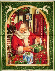 Santa Wrapping Gifts 45288-F Panel