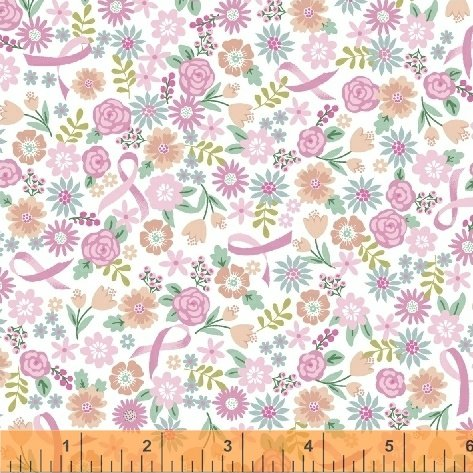 END OF BOLT I Believe In Pink 50252-2 Ribbon Floral White - .25 YD