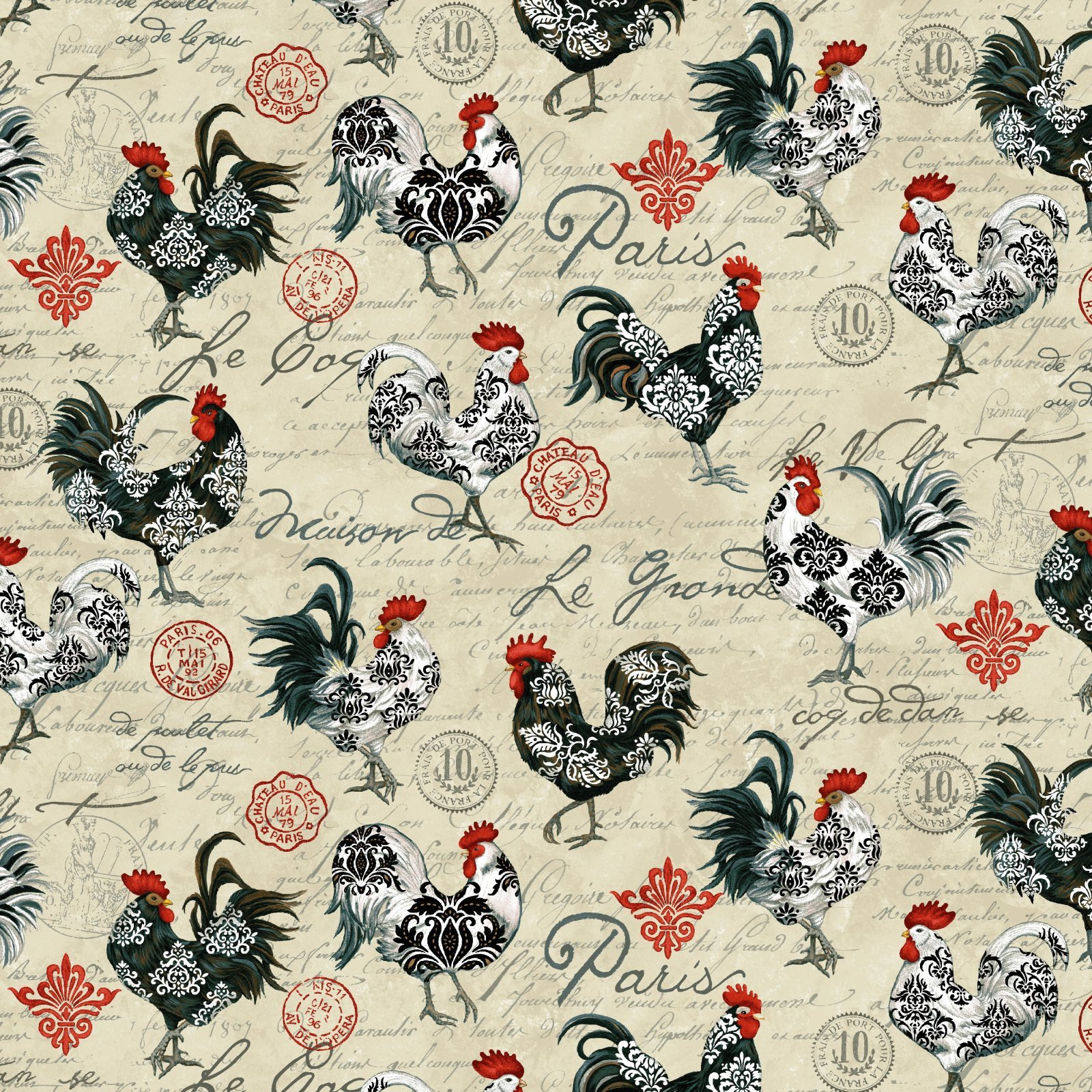 Le Poulet 5461-33 Roosters Cream