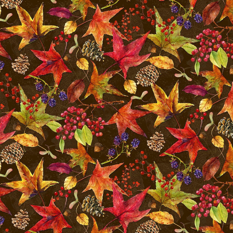 Harvest Whisper 5741-33 Tossed Leaves Brown