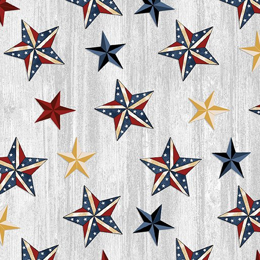 American Rustic 6333-08 Stars on Light Grey Wood