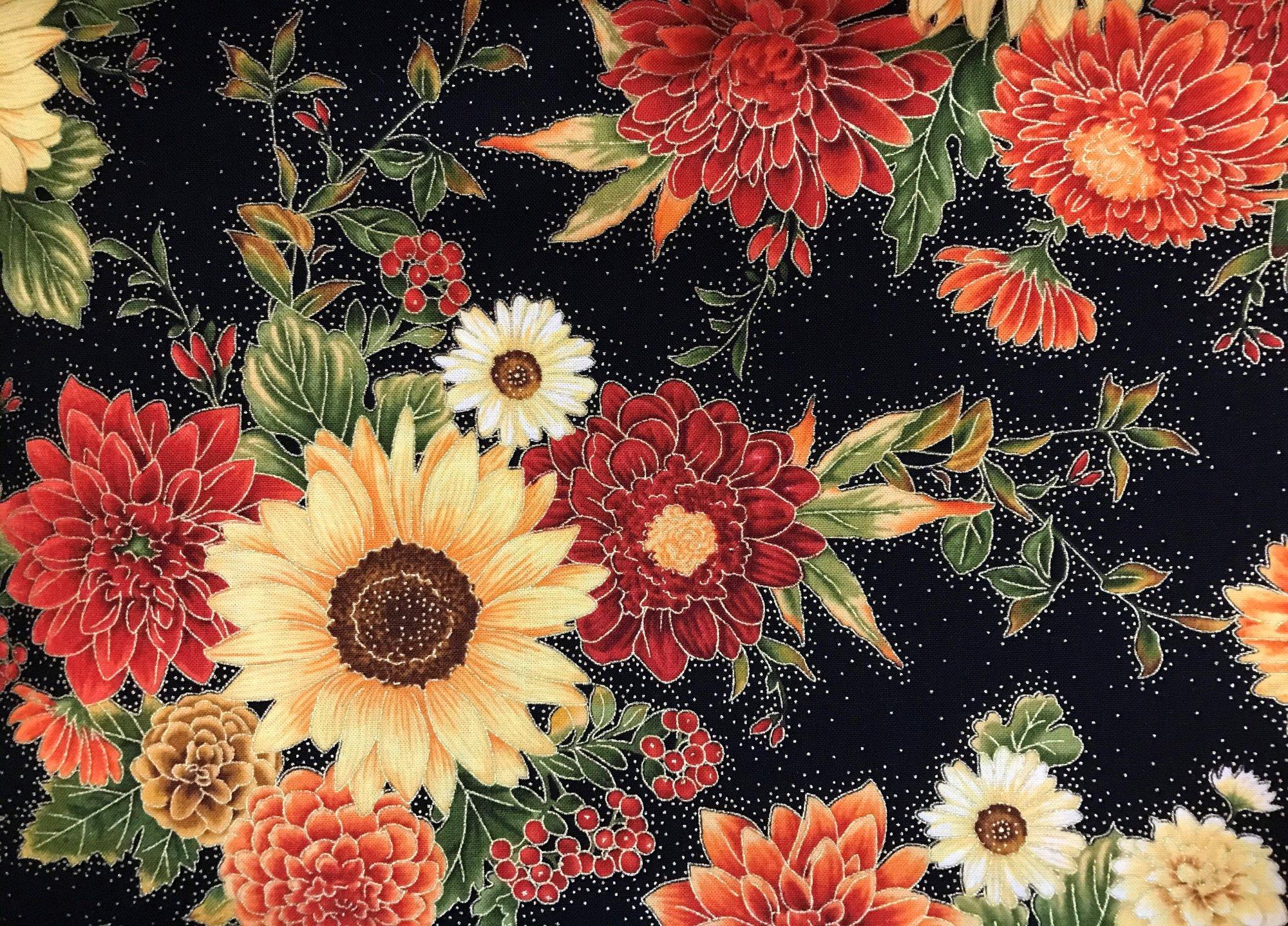 Fall Harvest Black Sunflower Metallic CM6588