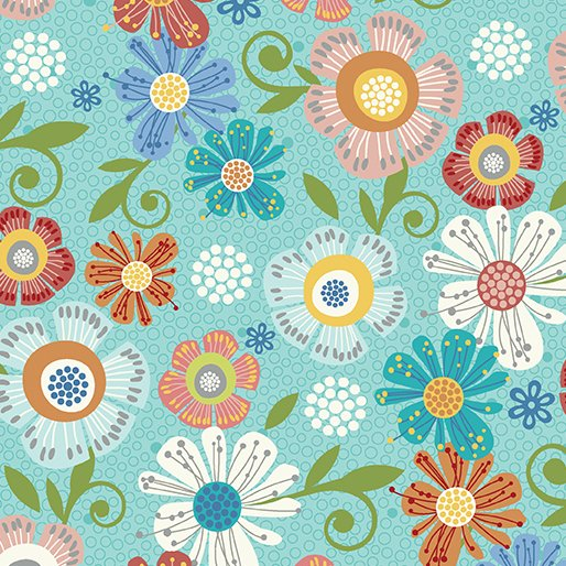 Home Grown 6802-24 Aqua Floral