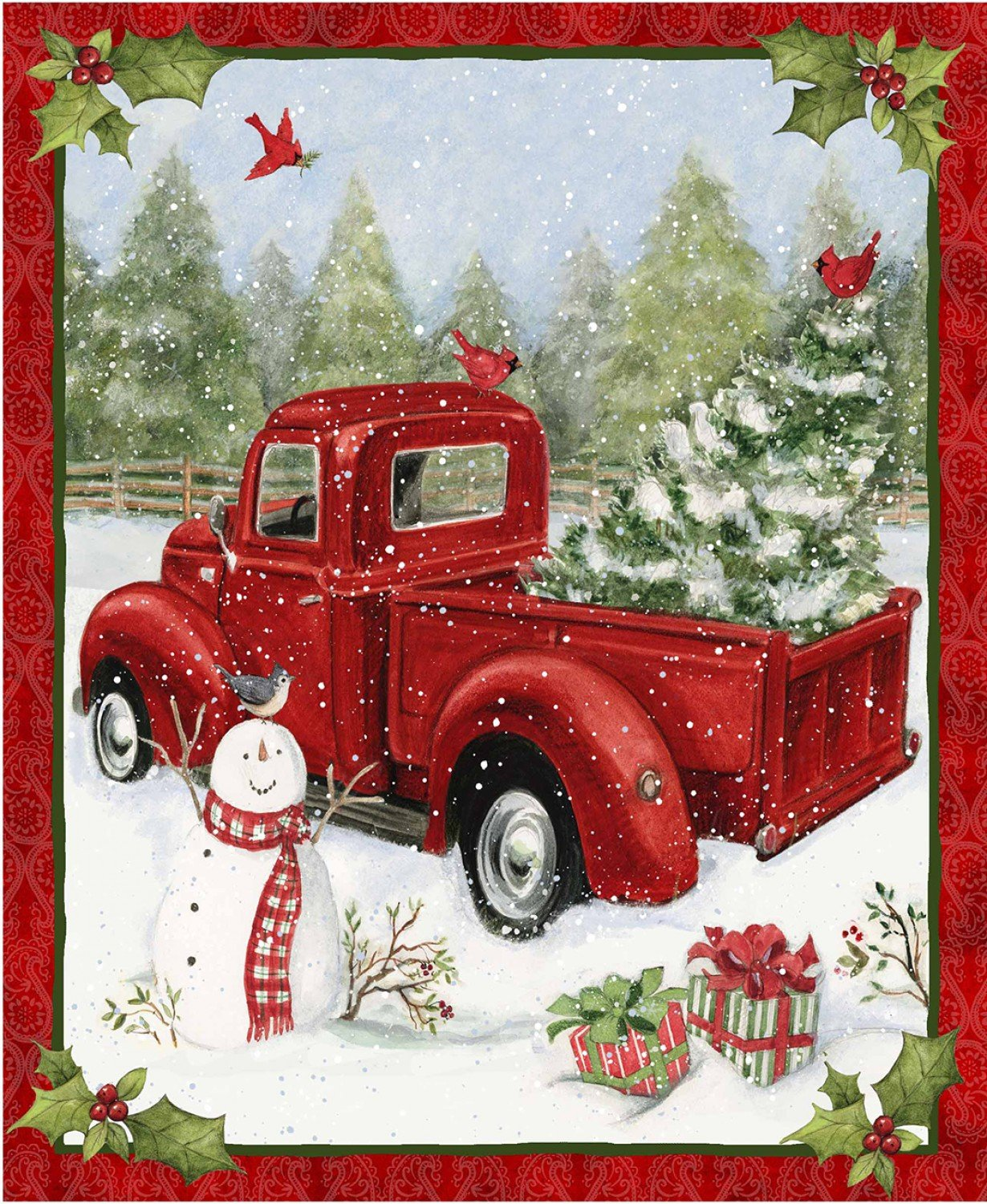 Red Truck Haulin' Christmas Tree 69167 Panel
