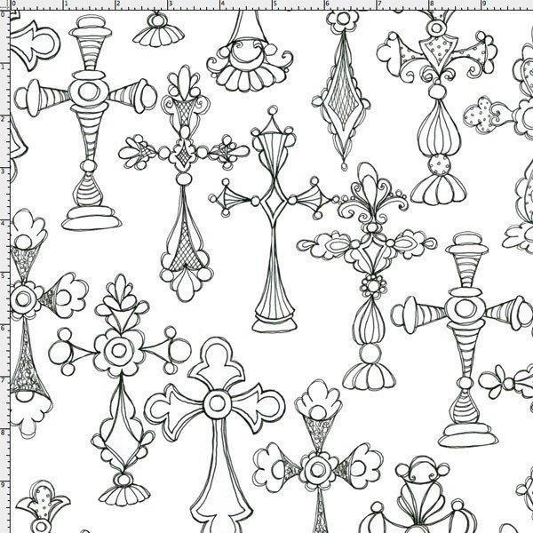 Church Ladies Cross Toss on White 23756Z