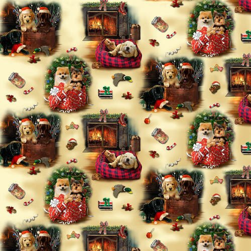 Fireside Pups 7193-44 Vignettes Gold