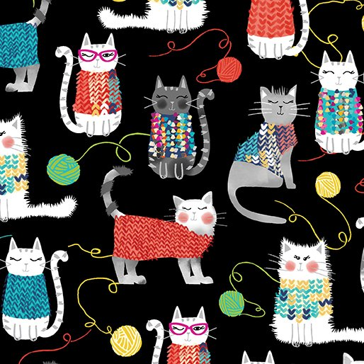 Knit Together 7871-12 Cats Black