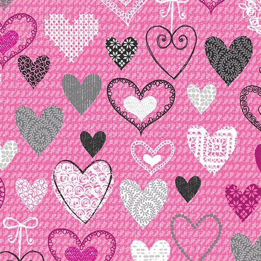 Knit Together 7873-02 Pink Hearts
