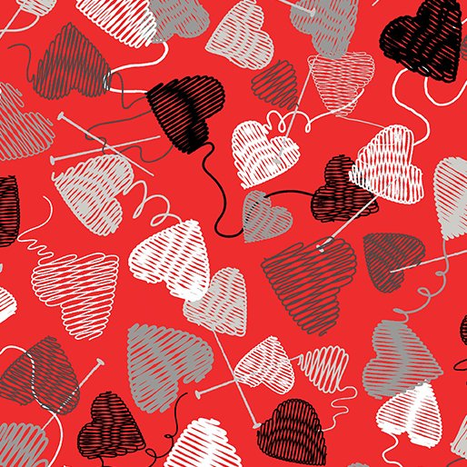 Love Knit Hearts 8434-10 Red