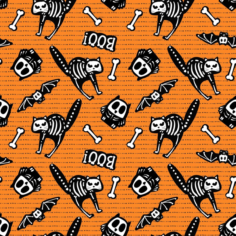 Glow Ghosts 9606G-33 Bones on Motifs Orange