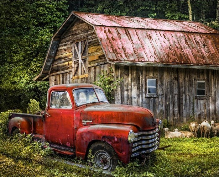 Old Red Truck Barn 3716 Digital Panel