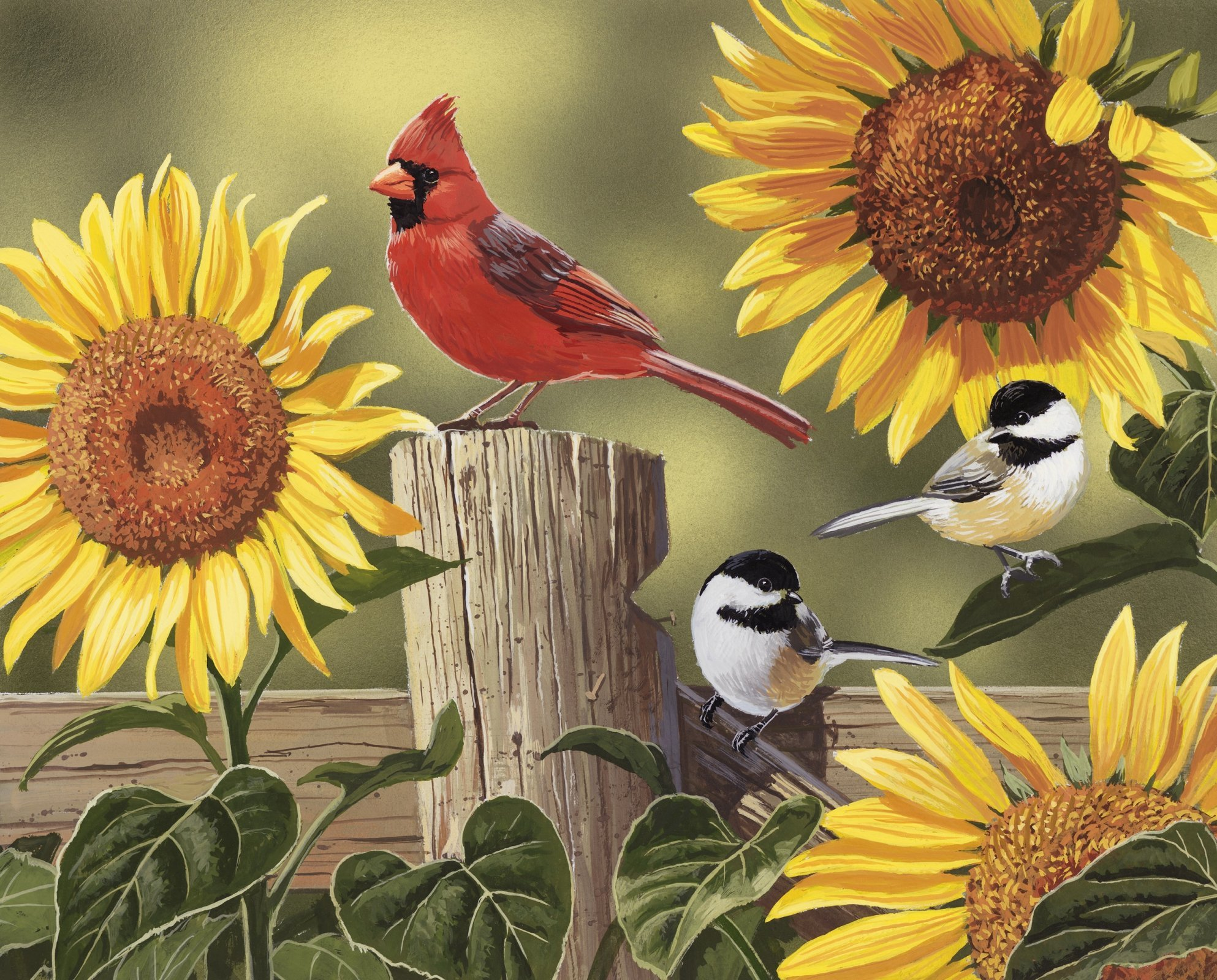 Sunflowers & Birds 4167 Panel 36