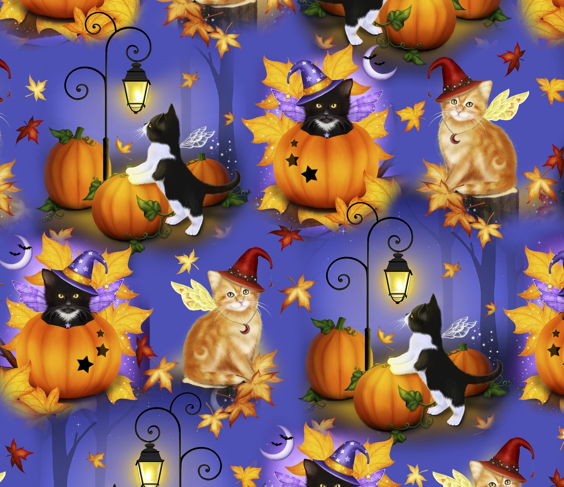 Halloween Cat Fairies 4618 Purple