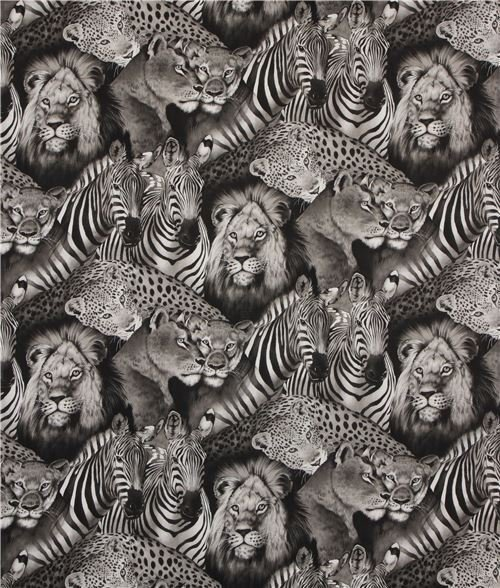 *EOB* Safari Eyes 2883 Black & White - 0.86 YD