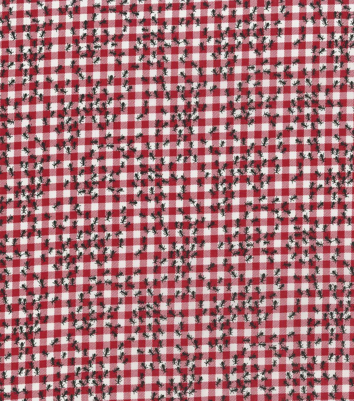 Ants on Gingham 6511 Red