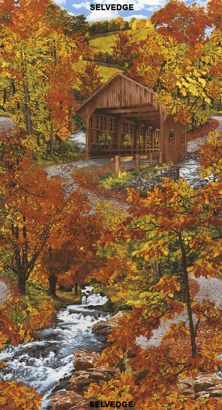 Autumn C4952 Covered Bridge Panel