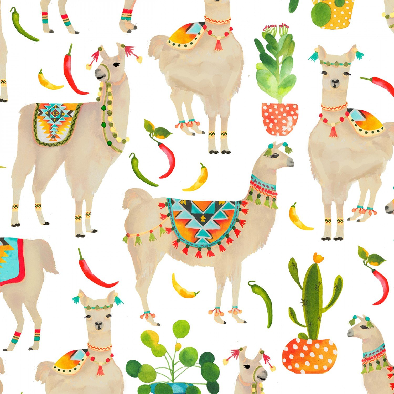 Aztec Llamas C7213 White