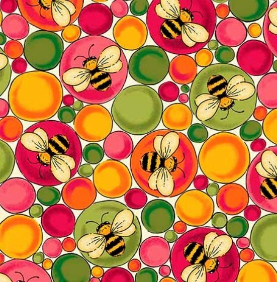 END OF BOLT Bees & Bubbles 26287-EP Bright - .94 YD