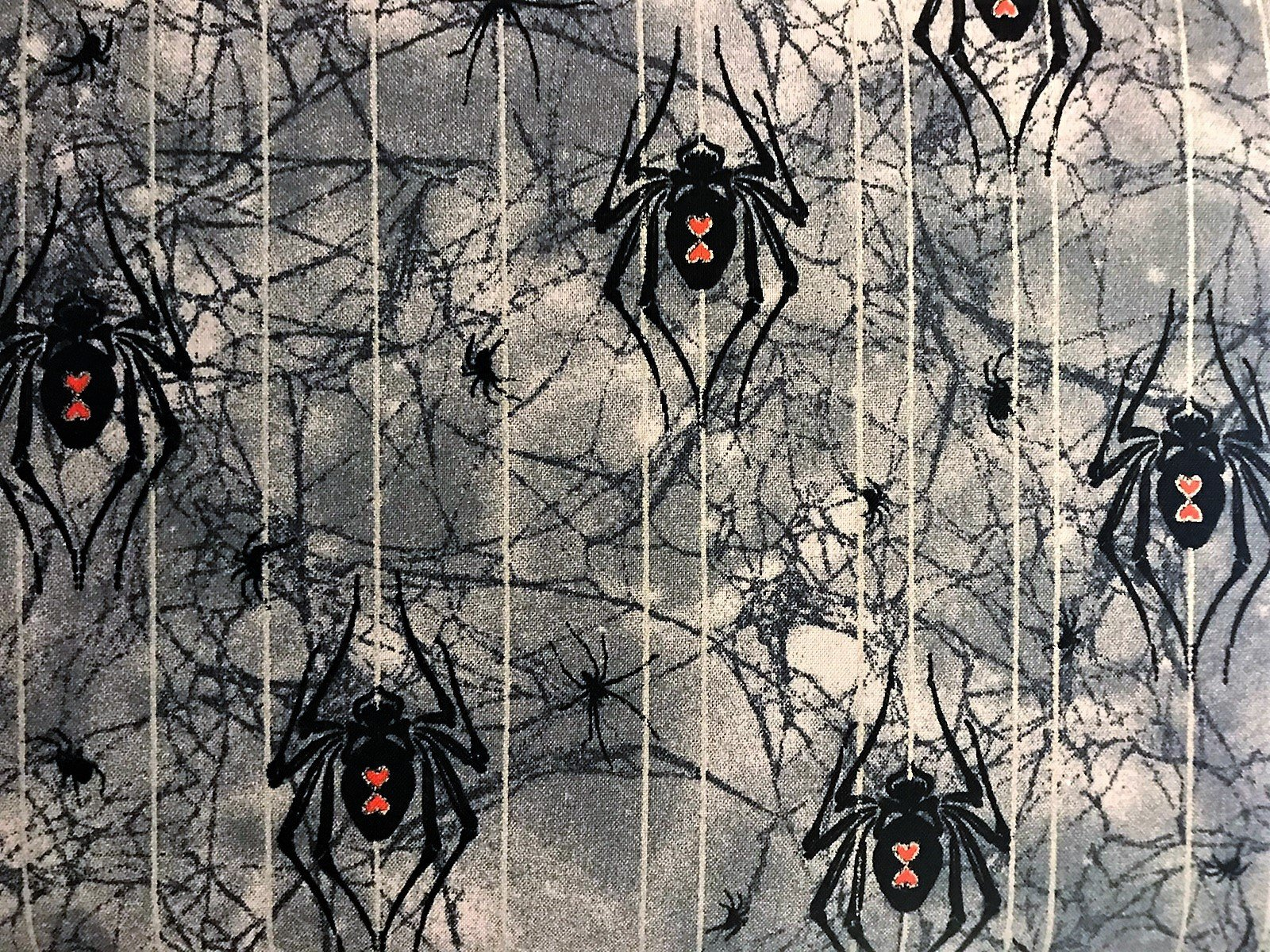 END OF BOLT Bewitched Spiders 11251 Glitter Grey - .67 YD
