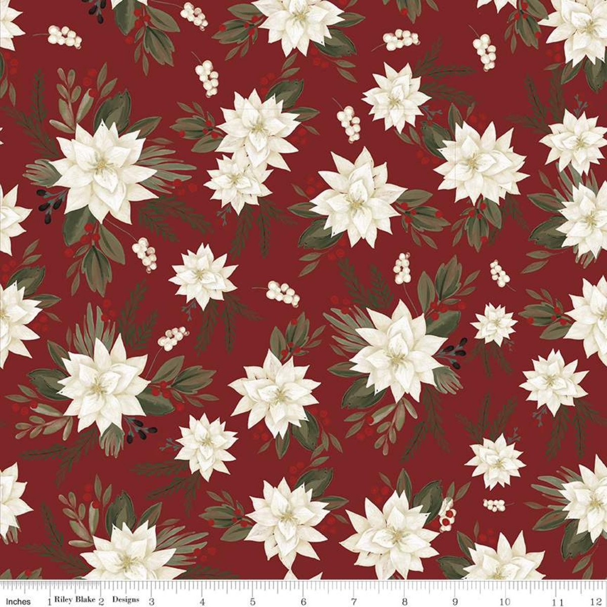 Farmhouse Christmas C10950 Poinsettias Red
