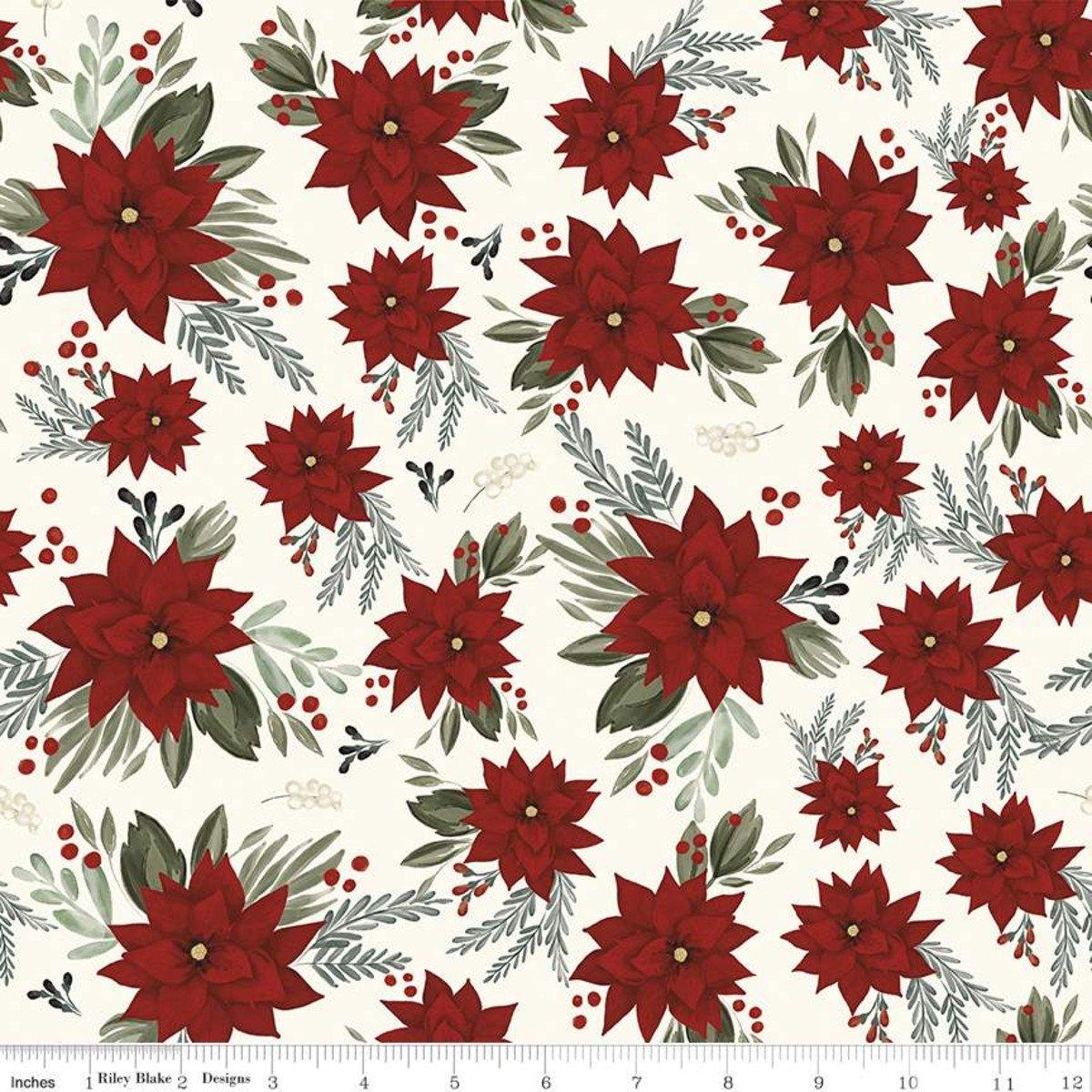 Farmhouse Christmas C10950 Poinsettias White