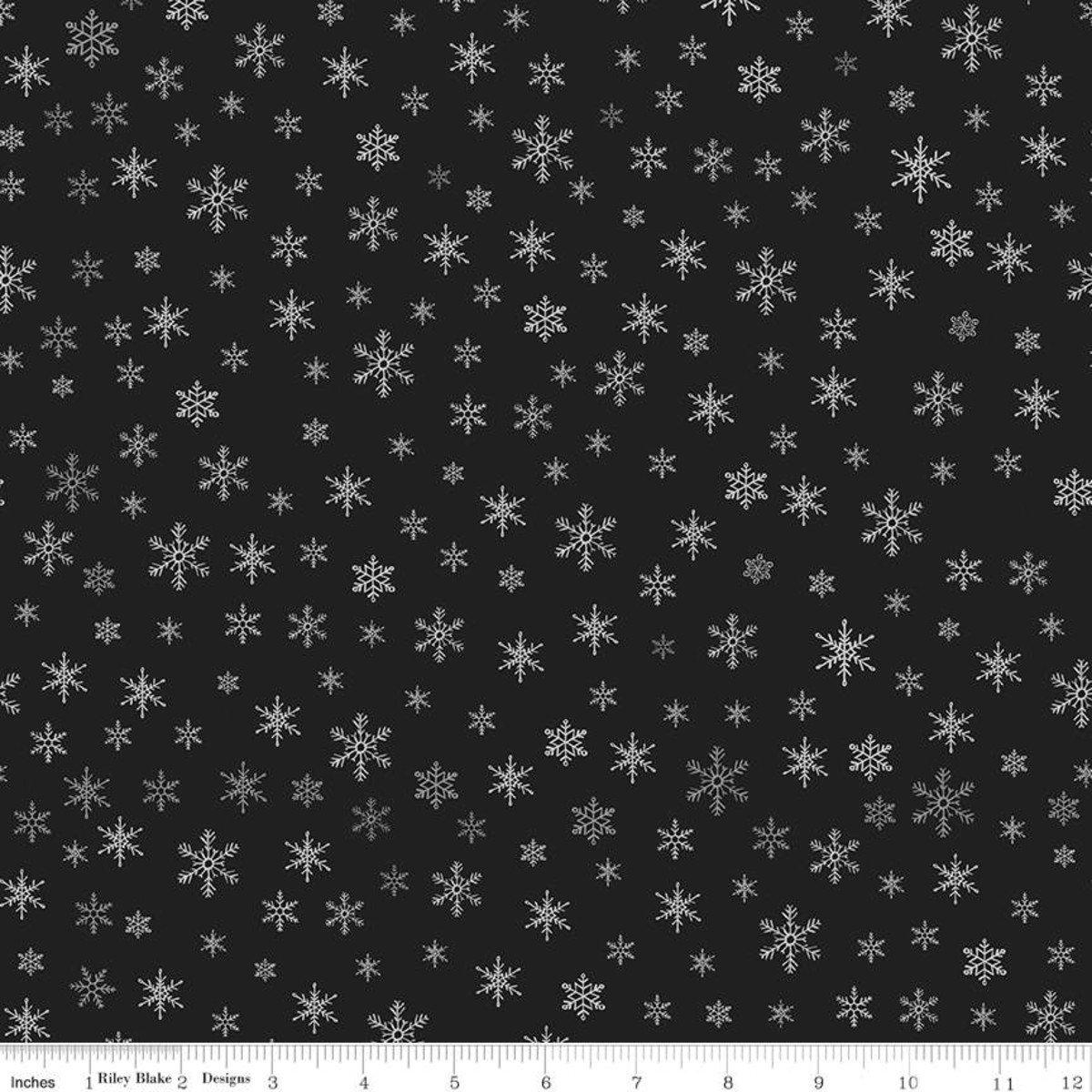 Farmhouse Christmas C10954 Snowflakes Black
