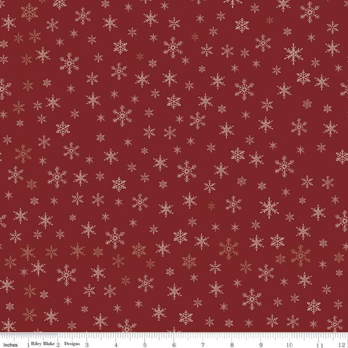 Farmhouse Christmas C10954 Snowflakes Red