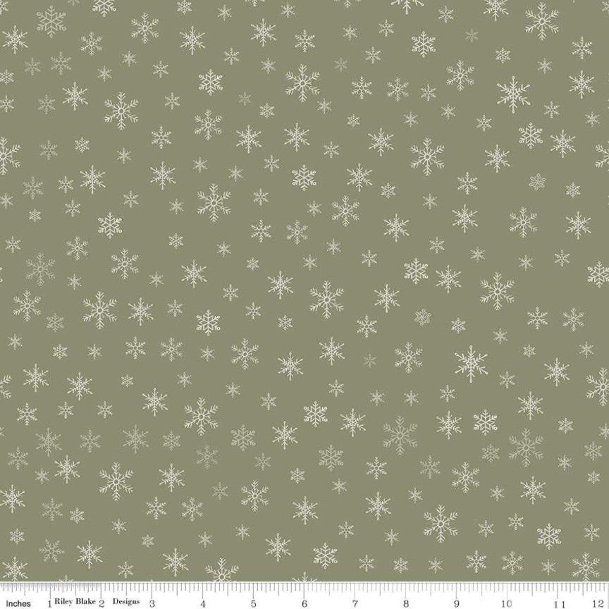 Farmhouse Christmas C10954 Snowflakes Sage