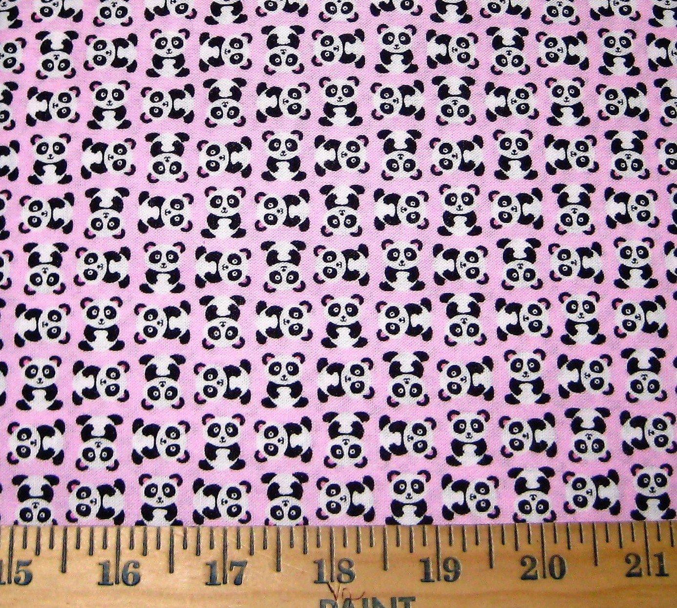 END OF BOLT - Mini Pandas C1386 Pink - .81 YD