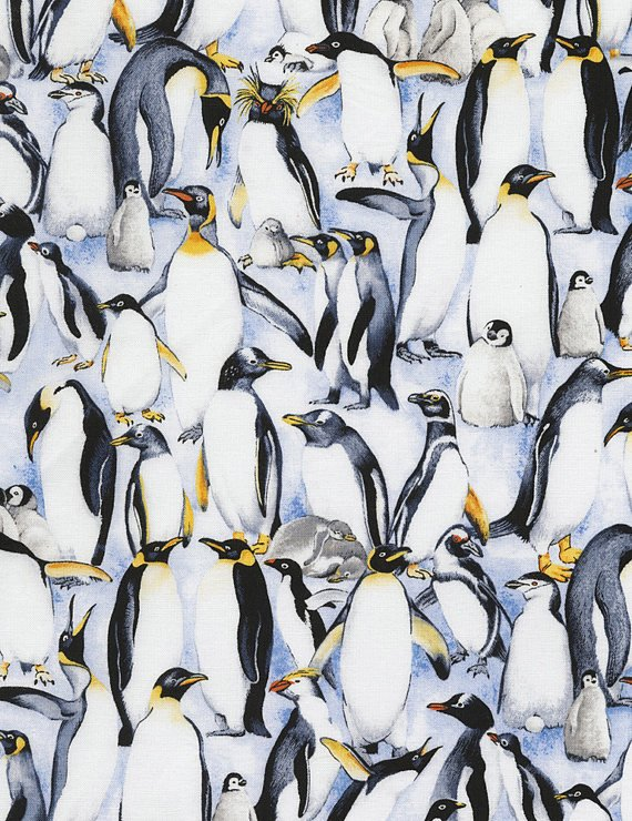 END OF BOLT Penguins C5487 Blue - .31 YD