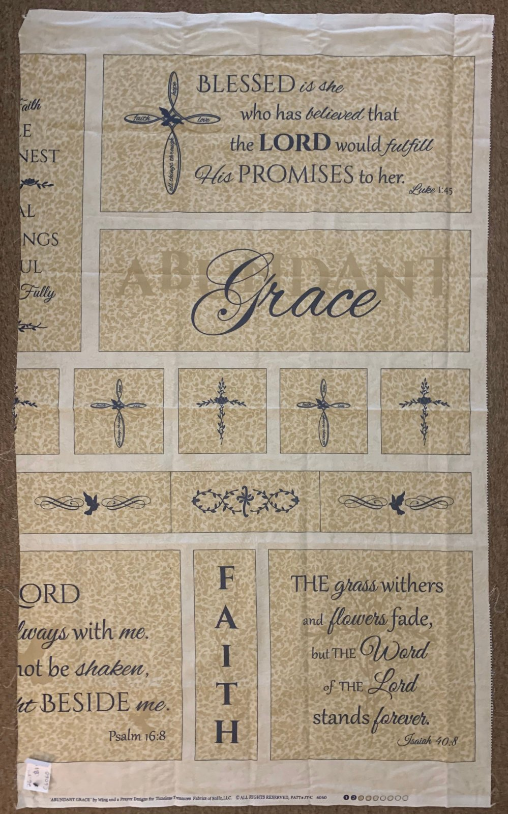 END OF BOLT FLAWED PANEL - Religious Quote Panel C6060 .74 YD