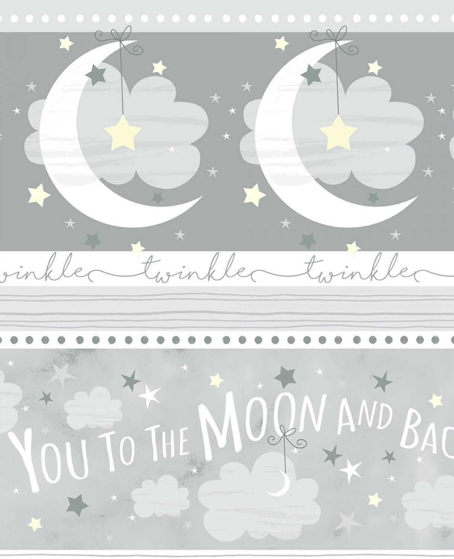 I Love You to the Moon Border Stripe C6289 Light Grey