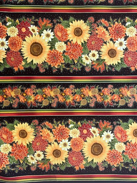 Autumn Sunflower CM6589 Border Stripe