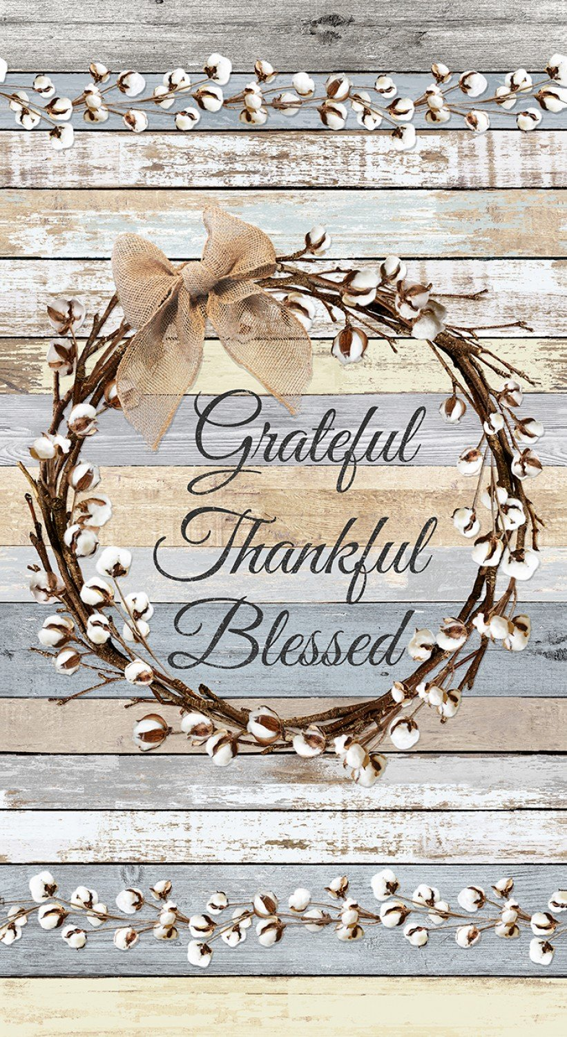 Rustic Grateful, Thankful, Blessed Cotton Wreath C7175 Panel