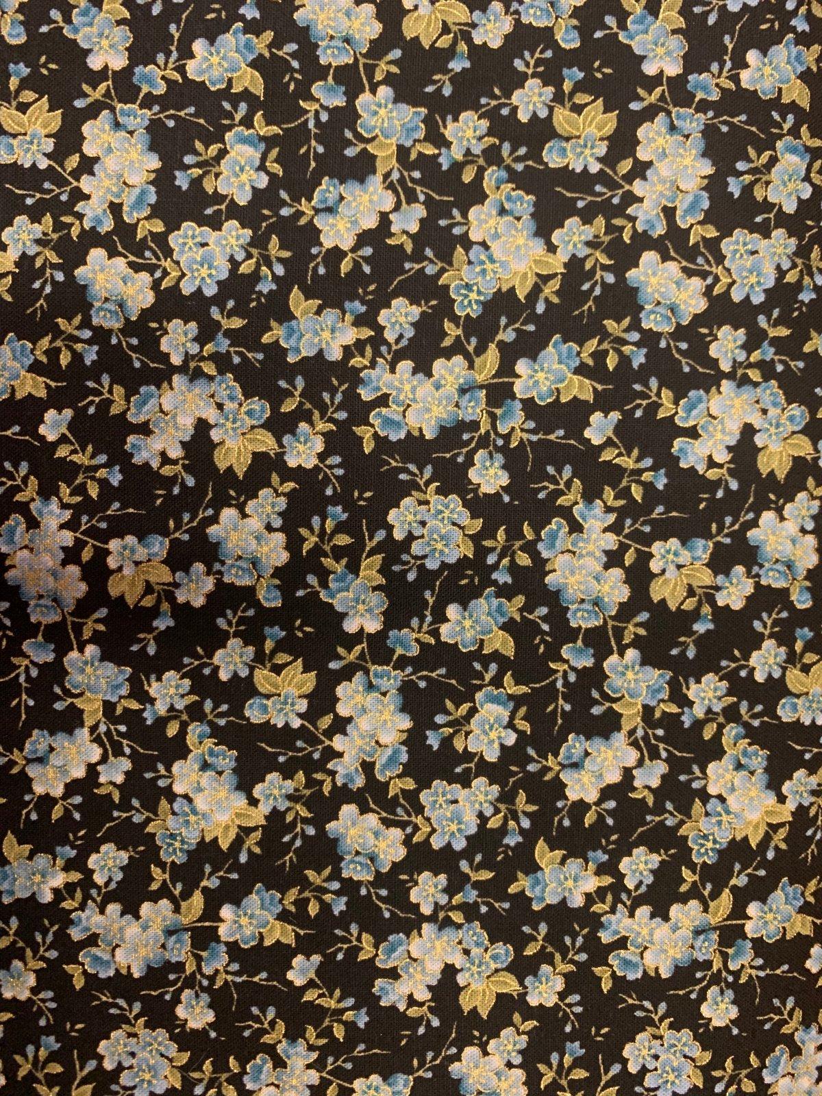 Calico Blue C7605 Black Floral